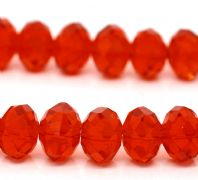 72 Red Crystal Glass Faceted Rondelle Beads 10 x 7.4mm